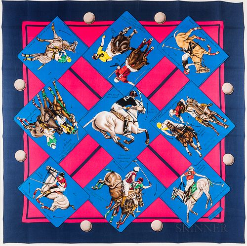 "Magenta Silk Scarf ""Le Monde du Polo"" Blue and Pink Silk Scarf"