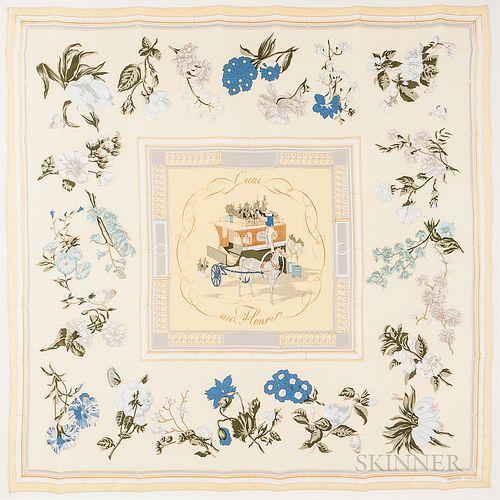 "Framed Hermes ""Quai aux Fleurs"" Yellow Silk Scarf"
