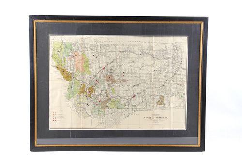 1911 Framed Montana Hydro & Fuel Power Plants Map