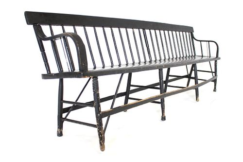 19th Century Windsor Back Railroad Depot Bench