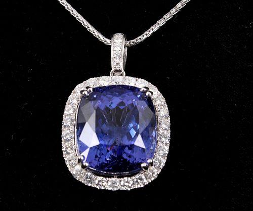 32.24 cts. Tanzanite & Diamond Platinum Necklace