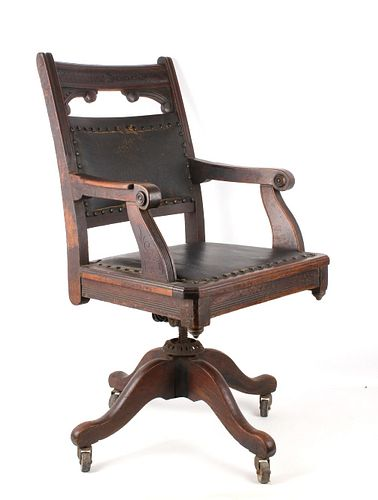 Leather & Carved Wood Rolling Office Chair