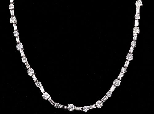 16.28 cts. VS2 Diamond 18K Gold Necklace w/ Papers