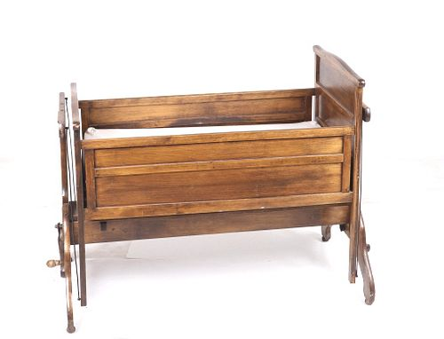 Victorian Handcrafted Wind Up Rocking Bassinet