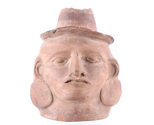 Pre Columbian Peruvian Woman Face Pottery Vessel