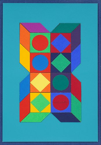 Victor Vasarely Cut Paper Collage Art Painting