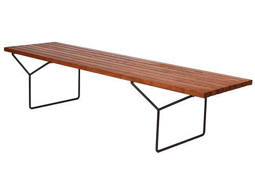 Knoll Vintage Teak Bench by Harry Bertoia