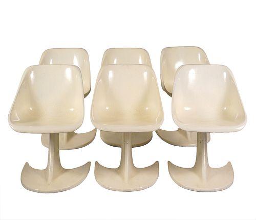 6 Star Trek Fiberglass Chairs Style of Kagan