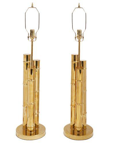 Pr. Italian Faux Bamboo Brass Table Lamps