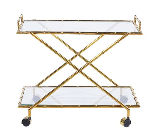 Italian Glass & Brass Bamboo Bar Cart