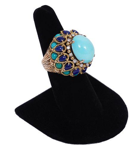 Vintage Turquoise, Lapis, Diamond Bombe Ring