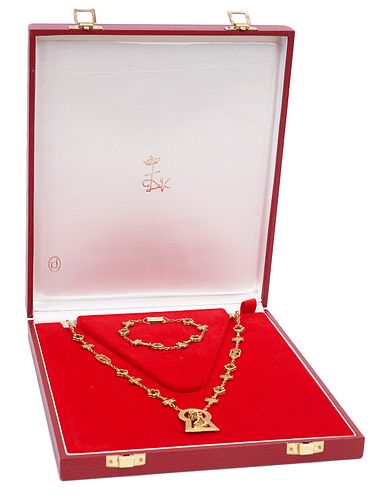 18K YG Salvador Dali Necklace & Bracelet