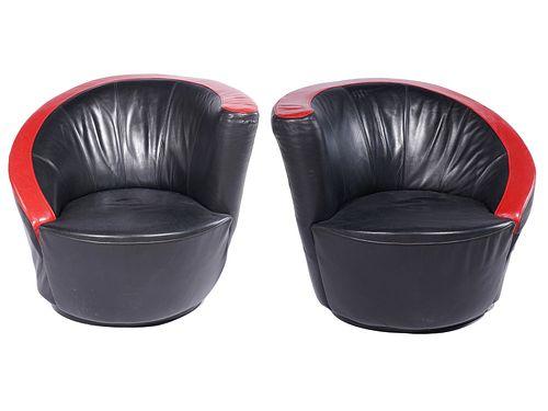 Pr. Vladimir Kagan Cork Screw Leather Chairs