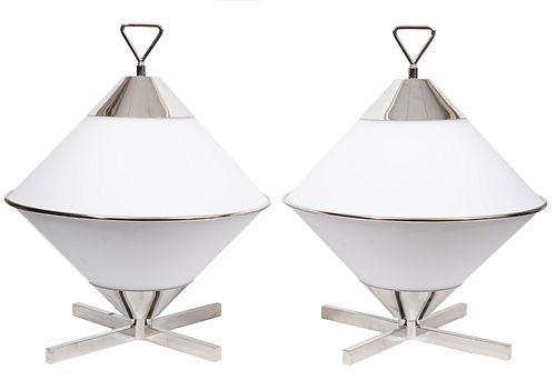 Pr. White & Chrome Retro Space Age Table Lamps