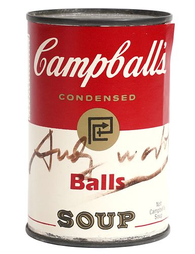 Andy Warhol Signed 'Balls Campball's Soup' Can