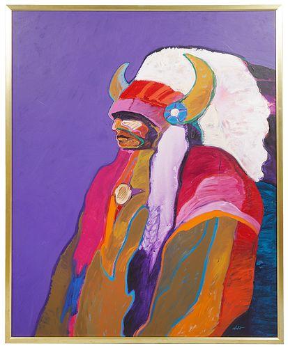 John Nieto 'Morning Star Warrior' Oil Painting