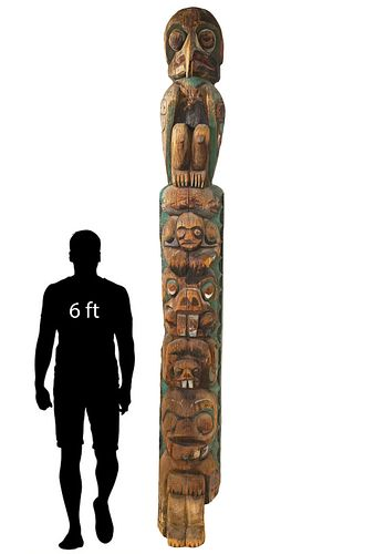 Monumental Northwest Coast Wood Totem Pole