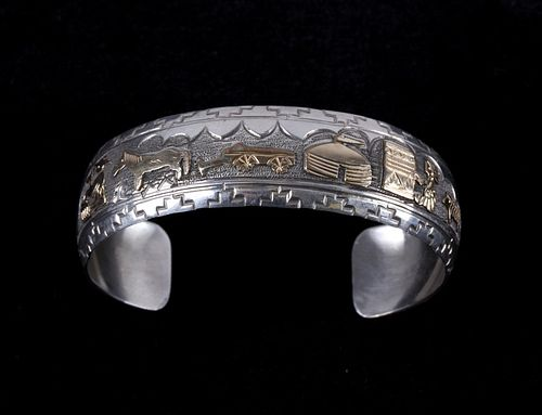 Navajo Begay 14K Gold Overlay Sterling Silver Cuff