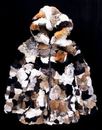 Patchwork Mixed Fur Coat with Fur-Lined Hood