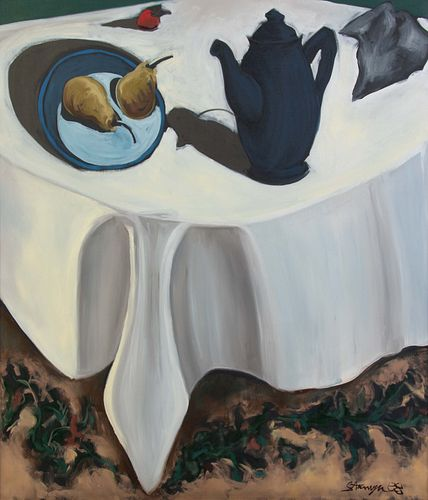 Ted Stanuga (American, b. 1948) Dark Blue Teapot on White Table Cloth Still Life, 1988