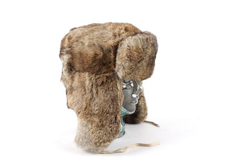 CrownCap Full Rabbit Fur Russian Round Shape Cap