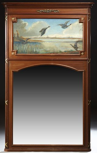 French Louis Philippe Carved Walnut Ormolu Mounted Trumeau Mirror, c. 1900, the stepped ogee crown over an oil on canvas of ducks co...