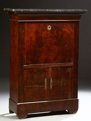 French Louis Philippe Carved Mahogany Marble Top Secretary Abattant, 19th c., the black marble over a cavetto frieze drawer, over an...