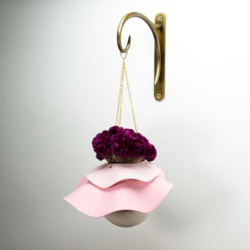 Ombre Pink Hanging Vase with Custom Hook