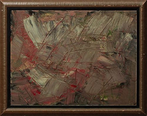 """Patrick Boudon (1944-1988, French), """"Abstract,"""" 20th c., oil on masonite, signed lower right, presented in a reeded silvered wood fr..."""