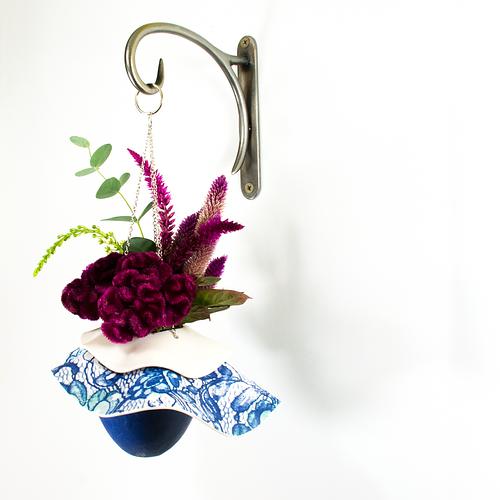Blue Lace Ruffled Hanging Vase