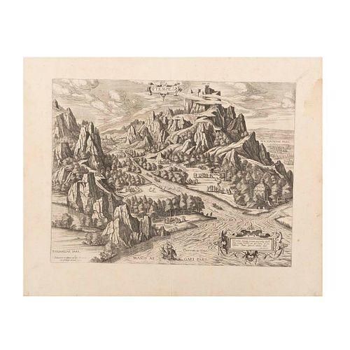 Ortelius, Abraham. Tempe. Antverpiae, 1603. Grabado, 36 x 47 cm.; hoja completa, 50 x 59.5 cm.