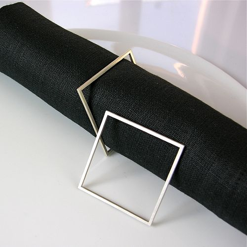 Fine Napkin Ring Set - SQUARE
