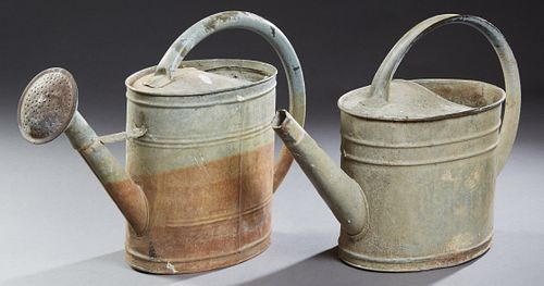 Two French Provincial Galvanized Iron Watering Cans, early 20th c., Larger- H.- 15 1/2 in., W.- 24 1/2 in., D.- 7 1/2 in.