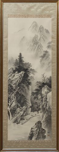"Chinese School, ""Mountain Landscape with River Below and People on Log Rafts,"" early 20th c., watercolor on silk, with a calligraphi..."