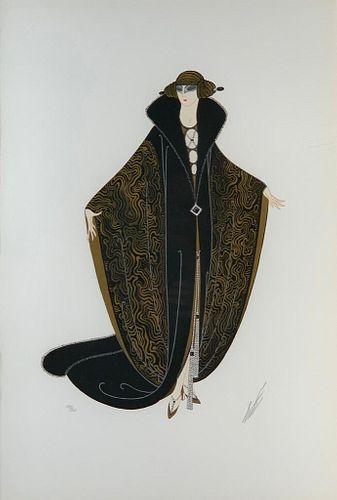 """Erte Serigraph, """"The Golden Cloak"""""""