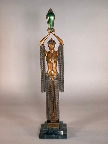 "Erte Bronze, ""Emerald Vase"""