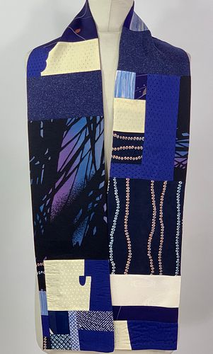 Blue Twigs and Leaves Scarf