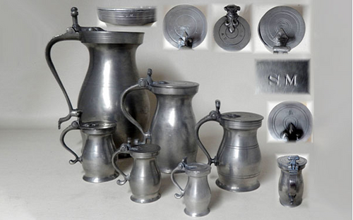 Set of Double Volute English Pewter Measures