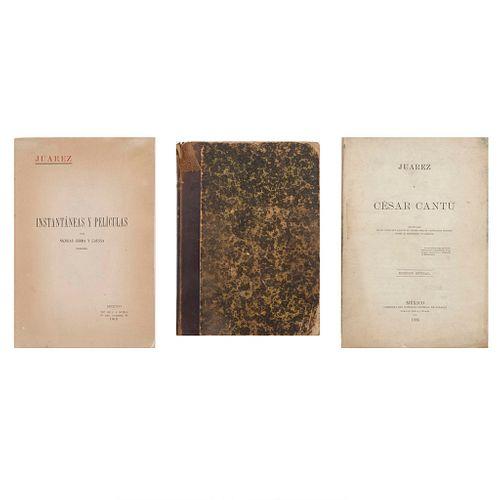 Santacilia, P. / Bulnes, F. / Serra, N. Juárez y Cesar Cantú / El Libro de Don Francisco Bulnes / Juárez. 1885/ 1906 / 1912. Pzas: 3.