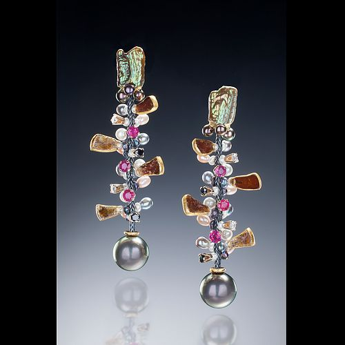 Diamond, Ruby and Tahitian pearl Vine earrings