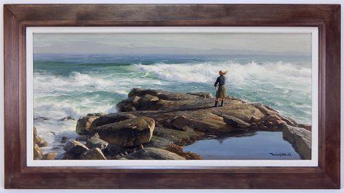 Walter Brightwell Jr. Windblown Coastal Painting