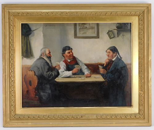Hedwig Oehring German Card Players Genre Painting