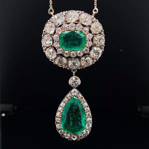 Victorian 18k & Platinum Colombian Emerald Diamond PendantÊ