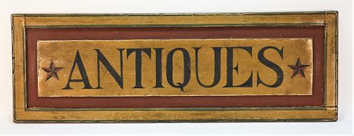 Large Red and Blue Antiques Sign