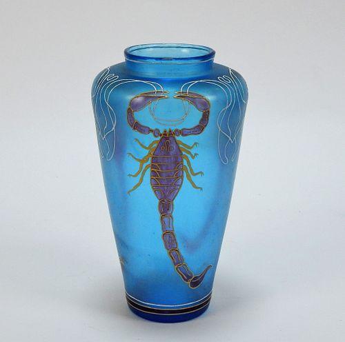 Czech Iridescent Enamel Scorpion Art Glass Vase