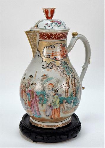 Chinese Export Famille Rose Porcelain Cider Jug