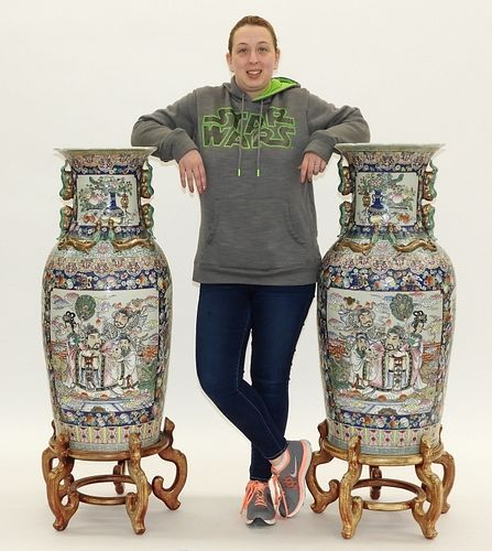 PR Palace Size Chinese Famille Rose Republic Vases