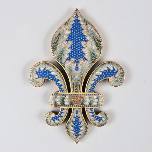 Continental Bronze and Enamel Fleur-de-lis Paper Weight