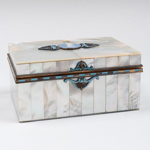 French Silver-Gilt and Mother-of-Pearl Box Mounted with a Wedgwood Plaque