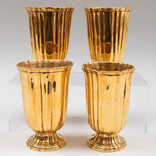 Set of Four French Gilt-Metal Vases